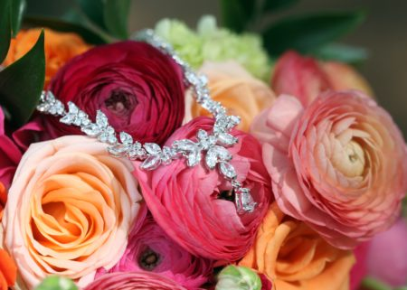 Diamond necklace on roses