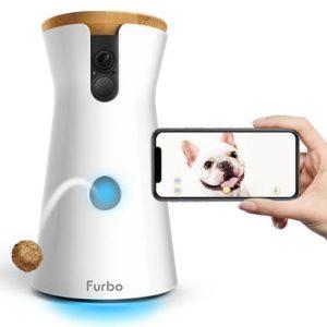 Pet camera tossing treat